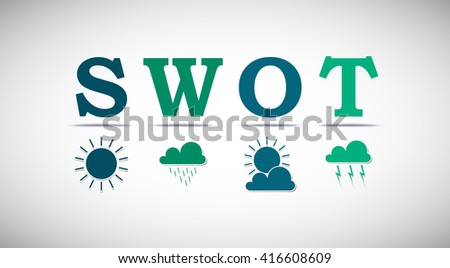 SWOT analysis template for commercial and private use - weather elements design