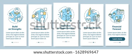 SWOT onboarding mobile app page screen with concepts. Managing threats. Building strengths walkthrough 5 steps graphic instructions. UI vector template with RGB color illustrations