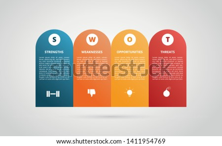 swot strengths weaknesses opportunity threats graph infographic chart with flat modern style and 4 color variation - vector