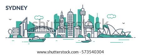 sydney city flat line style