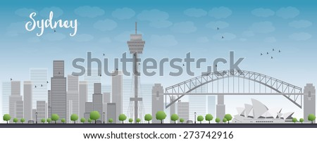 sydney city skyline with blue