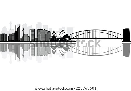 sydney skyline with the bridge