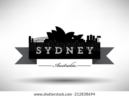 sydney skyline with typography