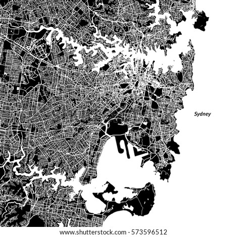Sydney Vector Map, Artprint. Black Landmass, White Water and Roads.