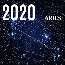 Symbol: Aries Zodiac Sign with the New Year and Christmas 2020. Vector Illustration. EPS10