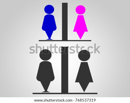Symbol bathroom Icon People Vector, Toilet  with color blue and pink design, silhouette, male, female #768537319