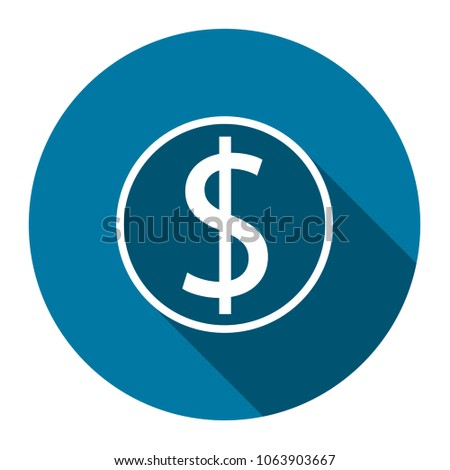 symbol coin dollar with long shadow black,Simple design style.vector illustration