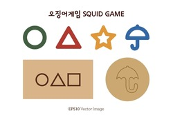 Symbol design of Squid Game. Circle, Triangle, Star, Umbrella, Square shape isolated on white background. Translation of Korean Text : Squid Game. Vector Image.
