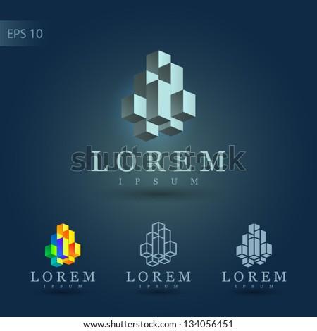 Symbol design set. Emblem with cube elements. Vector logo for corporate identity.