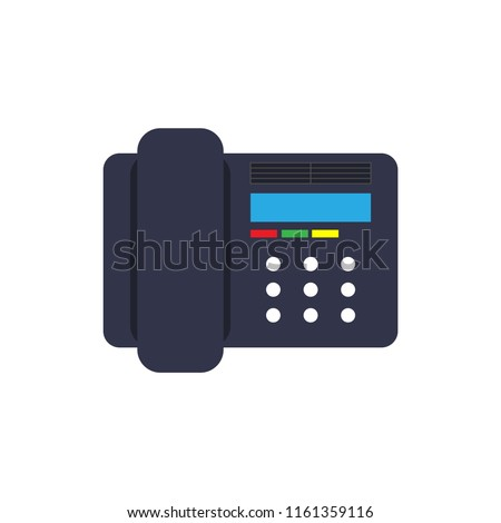 Symbol device illustration isolated equipment black. Talk desk object telephone receiver. Cell phone workplace office. Old home retro support service. Vector art help connect icon voip flat.