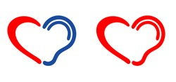 Symbol for deafness with love heart. Limited hearing. Ear hearing loss symbol. Ear icon. Flat vector signs. Deaf problem. Hearing loss impairment logo. World hearing day or world deaf day.