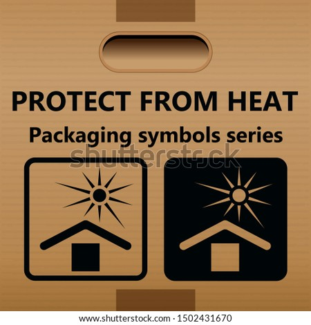 Symbol for heat protection for use on cardboard boxes, packages and packages