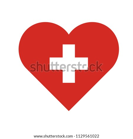 symbol for hospital red heart white cross inside vector graphics