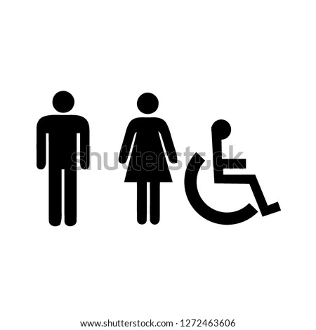 Symbol for men, women, people with disabilities, toilet sign. Design by Inkscape.