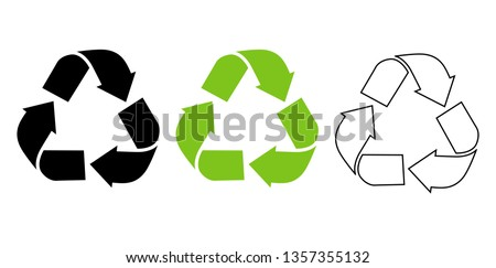 Symbol for recyclable products . Recycled icon flat and line