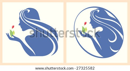 symbol girl with a flower in a