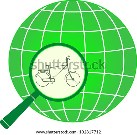 symbol green tourism with bike in magnifier on planet. isolated icon