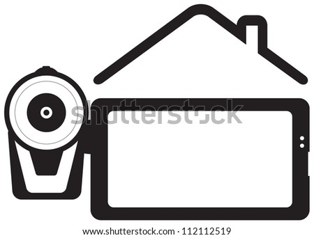 symbol home video - video camera and house silhouette with space for text