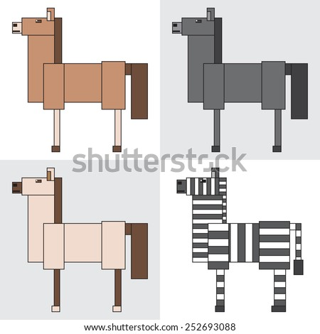symbol icon rectangle animal horse zebra