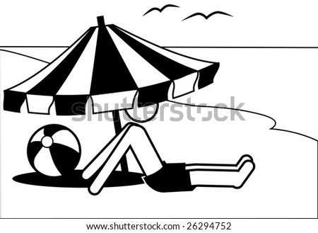 Symbol man on vacation in the shade of a beach umbrella by the sea or a lake.