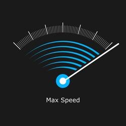 Symbol max speed meter. Speedometer logo vector illustration banner.