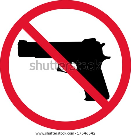 Symbol No gun on white background - stock vector