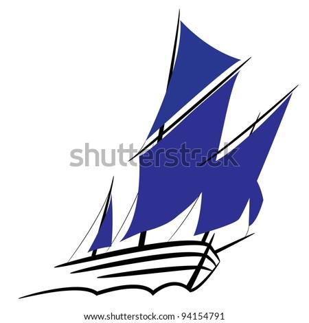 Symbol of a sailing ship under full sail - stock vector