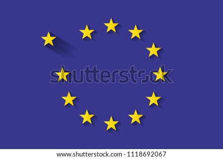 Symbol of Brexit. EU Flag. Flat Vector Graphic. Stars With Shadow. Brexit. Symbol of Great Britain Separating from the EU Flag. Incomplete EU Flag. EU Crisis.