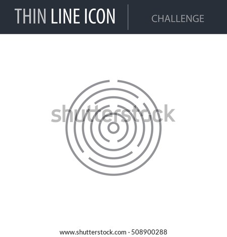 Symbol of Challenge Thin line Icon of Business. Stroke Pictogram Graphic for Web Design. Quality Outline Vector Symbol Concept. Premium Mono Linear Beautiful Plain Laconic Logo