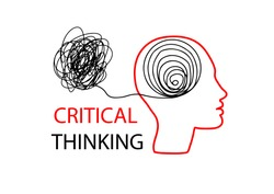 Symbol of Critical Thinking. Profile of the head with confused thoughts, the problem and its solution.