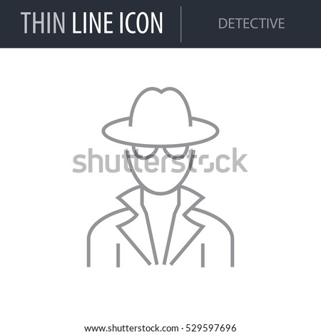 Symbol of Detective Thin line Icon of Different People. Stroke Pictogram Graphic for Web Design. Quality Outline Vector Symbol Concept. Premium Mono Linear Beautiful Plain Laconic Logo
