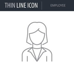 Symbol of Employee Thin line Icon of Different People. Stroke Pictogram Graphic for Web Design. Quality Outline Vector Symbol Concept. Premium Mono Linear Beautiful Plain Laconic Logo