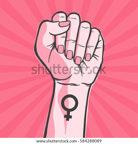 Symbol of feminist movement. Woman hand with her fist raised up. Girl Power. Happy Women's Day concept