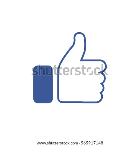 Symbol of finger up, thumb up in flat style isolated on white background. Vector illustration of  hand.