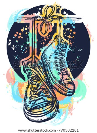 Symbol of freedom, graffiti, street art. Sneakers on wires in space. Boots hanging from electrical wire tattoo and t-shirt design water color splashes