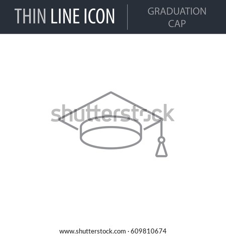Symbol of Graduation Cap. Thin line Icon of College. Stroke Pictogram Graphic for Web Design. Quality Outline Vector Symbol Concept. Premium Mono Linear Beautiful Plain Laconic Logo