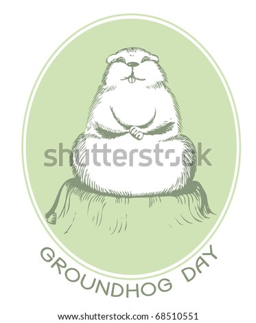 Symbol of Groundhog day with text. Vector graphic