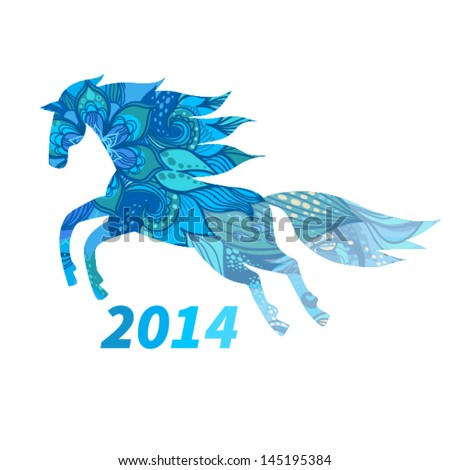 Symbol of 2014. Horse, decorated with blue flower patterns. Vector element for design. It can be used for decorating of invitations, greeting cards, web page, decoration for bags and clothes.