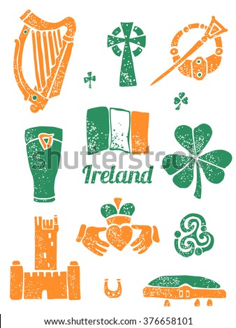 symbol of ireland vector set in