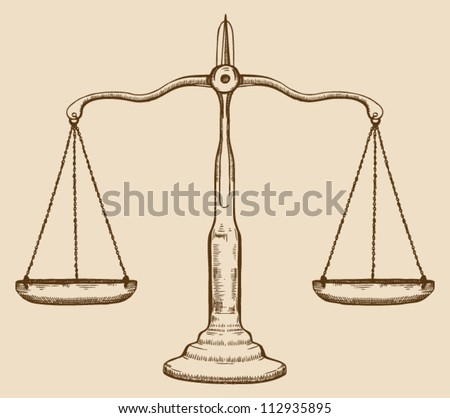 Symbol of justice, draw scale, old, vintage
