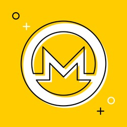 symbol of monero cryptocurrency thin line icon on yellow background. trendy financial flat vector illustration easy to edit and customize. eps 10