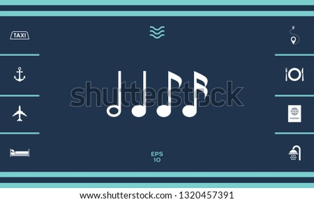 Symbol of Music, notes. Sixteenth note, Eighth note, quarter note and half note