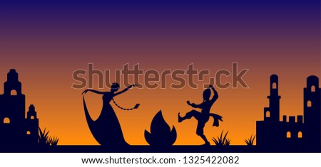 symbol of Novruz Bayram , characters Kosa and lady Spring dancing around fire, vector illustration of celebration traditional holiday