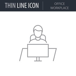 Symbol of Office Workplace Thin line Icon of Corporate Managemen. Stroke Pictogram Graphic for Web Design. Quality Outline Vector Symbol Concept. Premium Mono Linear Beautiful Plain Laconic Logo