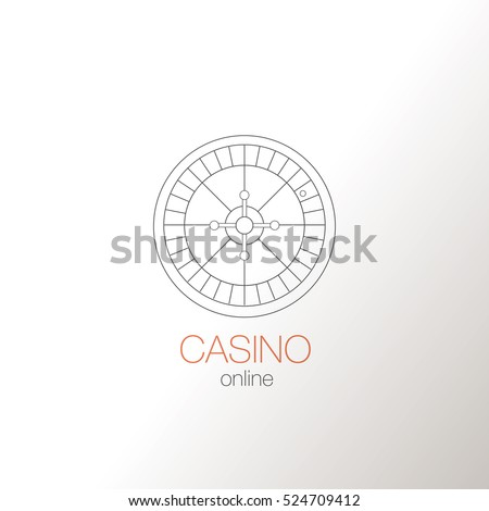 symbol of online gambling - roulette. Logo in a minimalist style, thin lines.  Flat vector related icon for web and mobile applications. Vector Illustration.