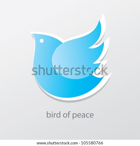Symbol of peace and love - bird of peace. Vector sign.
