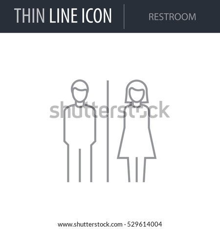 Symbol of Restroom. Thin line Icon of Icons Of City Elements. Stroke Pictogram Graphic for Web Design. Quality Outline Vector Symbol Concept. Premium Mono Linear Beautiful Plain Laconic Logo