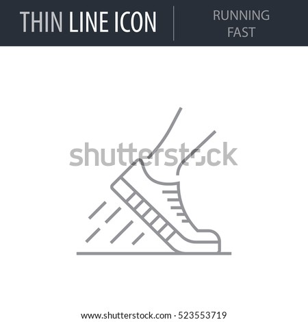 Symbol of Running Fast Thin line Icon of Fitness And Sport. Stroke Pictogram Graphic for Web Design. Quality Outline Vector Symbol Concept. Premium Mono Linear Beautiful Plain Laconic Logo