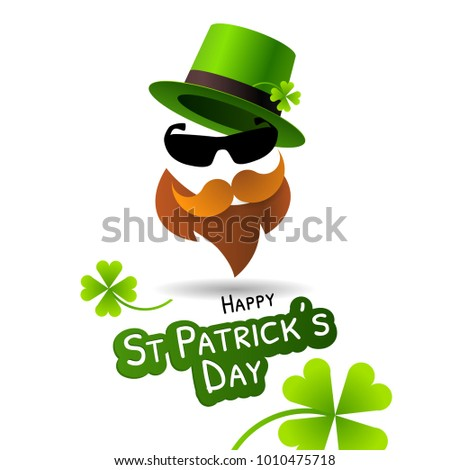 Symbol of Saint Patrick's Day character leprechaun with green hat, beard and glasses.  Illustration for posters, party invitations, web banners and greeting cards.