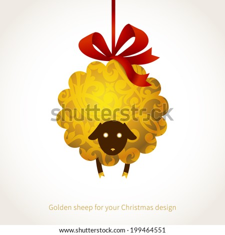 Symbol of 2015. Sheep, decorated gold floral patterns. Vector element for New Year's design. Illustration of 2015 year of the sheep.